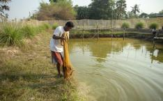 Man stands by pond holding net