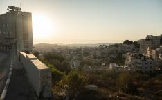 Sun setting over Palestine.